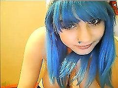 OMG Mėlynos Plaukai Dideli Papai Mažylį Ant Kameros Merry Xmas FMJ