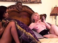Hot lesbian interracial action with two sluts