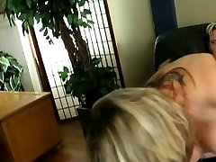 Wanton BBW blonde Bree gets drilled front and back in fishnet stockings