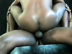 Sexy black stud takes a big dick up his ass and a hot load on his face