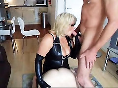 Big breasted blonde mistress in hot lingerie pleases two lu
