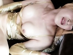 Ladyboy assfucked while jerking her cock