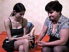 Old tight pussy gets dildo lady enjoying lesbian strapon
