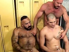 Muscled bears shoot cum