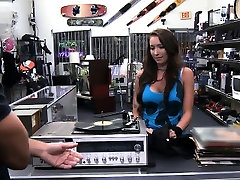 Busty babe pounded by horny pawn keeper in the backroom