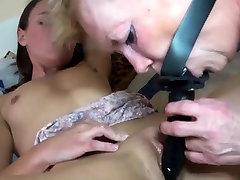 Hairy old pussy masturbates
