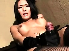 Asian french amateur blonde strokes her cock with gloves