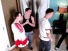 Four muscular guys have a wild bedroom orgy full of banging