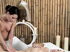 European lesbian massage session with orgasm
