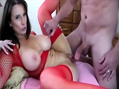 Busty milf in stockings fucked by a massive long dong