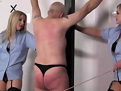Police femdoms caning worthless prisoner