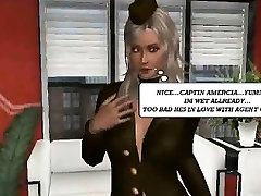 3D cartoon lesbian babe fucked with a strap on dildo