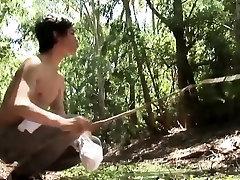 Twink bukkaked in woods