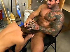 Naked men Kyler Moss sneaks into the janitors apartment for