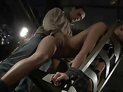 Blonde in cage ass spanked and bondage with mouth cum