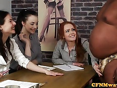 Casting punky 1 female agent tugging black cock