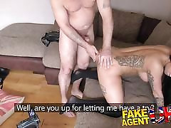 FakeAgentUK Agent squeezes cock into sexy little arse