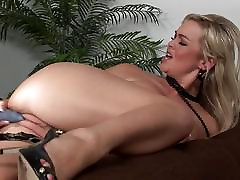Amazing blonde Abbey Brooks slides dildo into her sweet muff