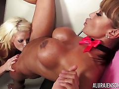 Moist muff munching lesbos fast and hard raping sex Devine and Alura Jenson