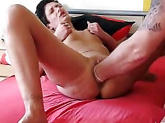 Brutally fisting the wifes huge cavernous pussy
