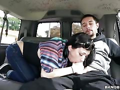 Gorgeous brunette fucked hard on the bangbus