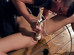 Angel Piaff bound spread gagged vibed dildoed