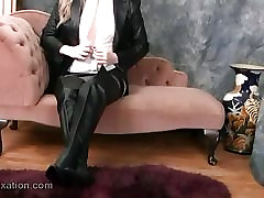 Sexy babes in leather put on tight pants and boot tease
