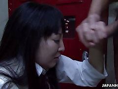 Asian school girl sucking hard on the fat dong