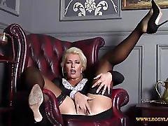 Horny blonde Milf finger fucks tight wet pussy in nylon