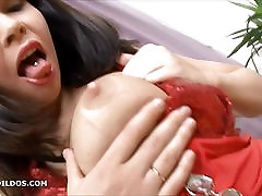 Thick brunette sucking and fucking a big young russian daughter taboo dildo