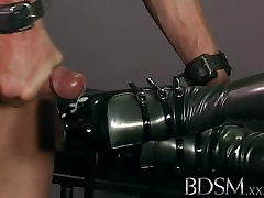 lesbian strapon hairy XXX Slave boy licks his cum from his Doms shoe