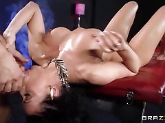 Rachel jast boys enjoys some oily fun in front of her husband