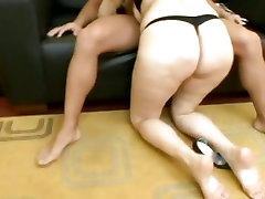 Curvey and sexy Luana fills her mouth with a big fat man sausage