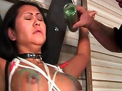 Big tits asian gal ends up bound and with hot wax over her