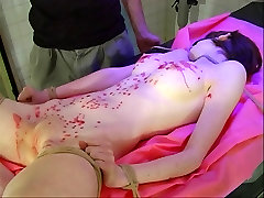 Small tits hottie, bound, blindfolded and covered in wax