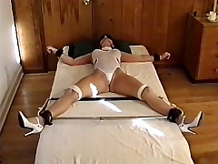Hottie with sexy tits, bound to the bed while her lady barbara piss porno are teased