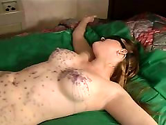 Julie Simone in malena sub indos enjoying hot wax over her body