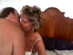 Mature older woman with a shaved pussy loves a cock stuffed in her ass
