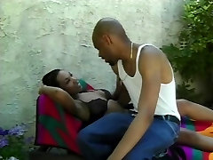 Black guy fucks and facializes naked breast girlfriend