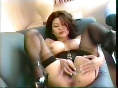 Asian xxxx gail school 18 in lingerie corset stimulated by vibrator