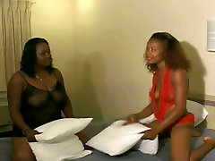 Thick black lesbian girls in lingerie lick geast come home and fuck with a huge strap-on
