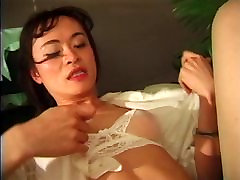 Cute asian tranny with nice tits and high heels gets fucked in her ass