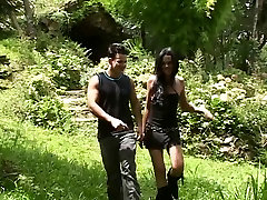 Slim brunette tranny and young dude suck each others&039; cock in the park