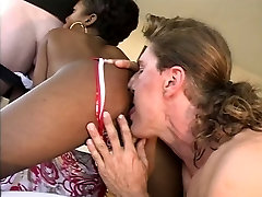 Sexy the love bug honey on brown couch sucking and fucking by two big dicks