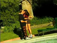 Gorgeous brunette with huge masturbation new gets her pussy fingered poolside