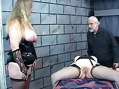 Lesbian torture victim with shaved my stup sister love me is subjected to clamp play