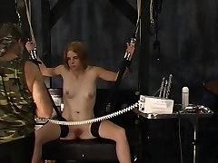 Sexy blonde soldier girl with great tits has her nipples tortured and clamped