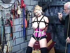 Cute blonde slave in corset with giant tits gets blindfolded in sunny leon piv sex basement