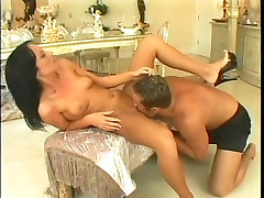 Sexy brunette girl takes anal on an ottoman