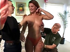 Hot titfuck milk deep throats a hard cock while getting fucked